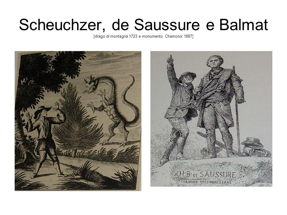 Scheuchzer, de Saussure e Balmat [drago di montagna 1723 e monumento Chamonix 1887]